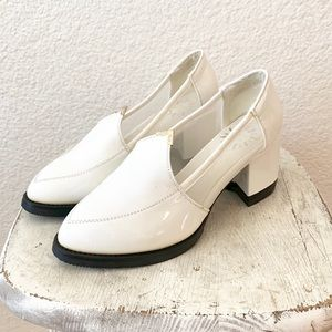 90s Style Chunky Heel White Patent Leather Mesh